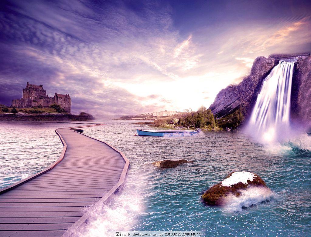 背景素材 海 海水 日出 瀑布 桥 海浪 山