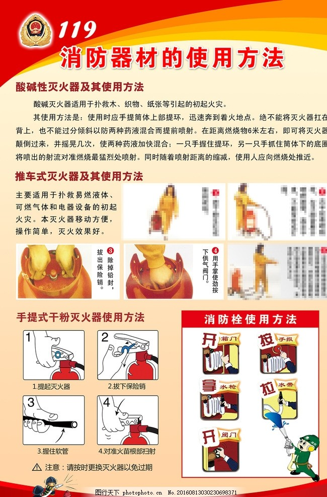 消防器材使用方法展板