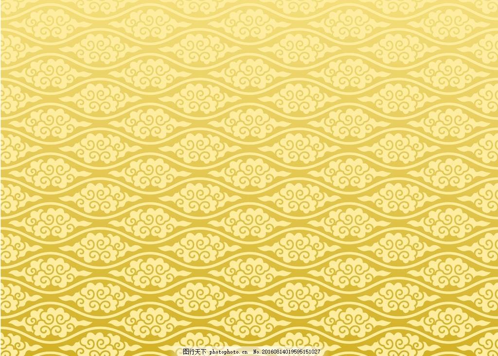 矢量金色欧式花纹图案墙纸壁纸