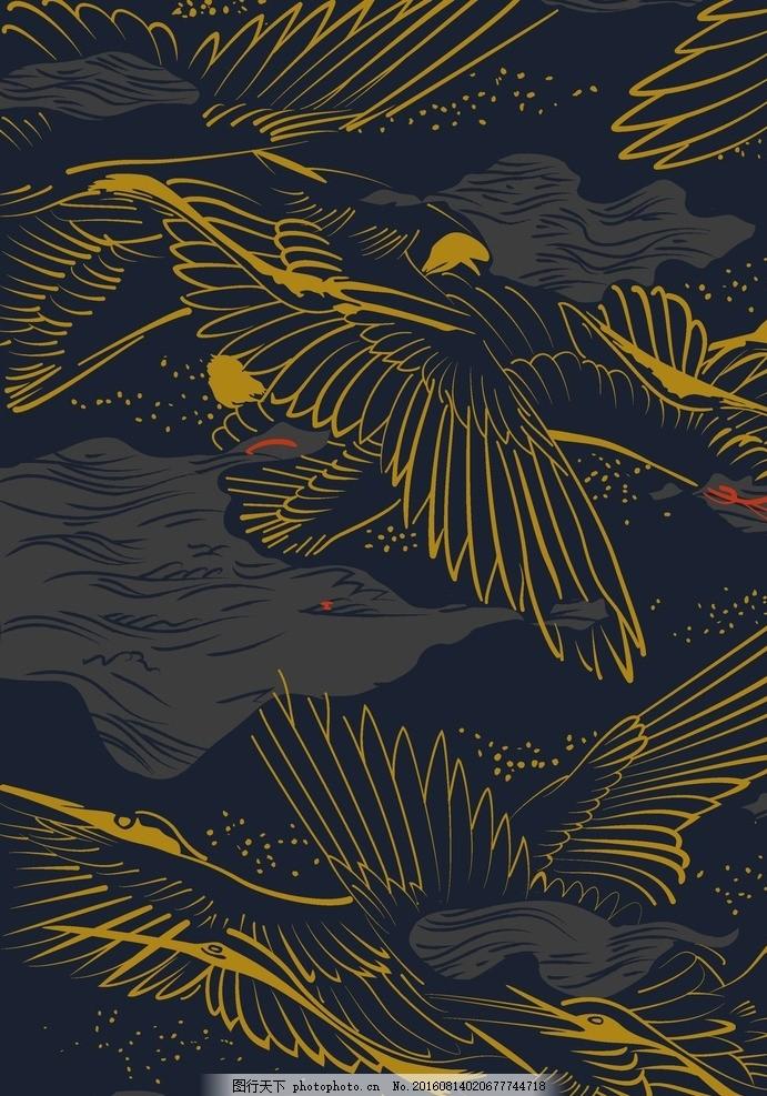 鹤鸟 鹤鸟面料 鹤鸟底纹 矢量鹤鸟 数码印花面料 印花底纹 面料图