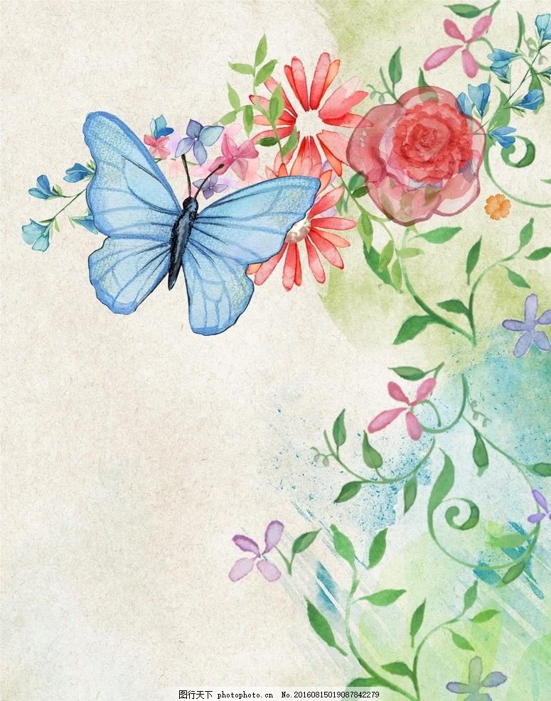 水彩花卉底纹 古典背景 古风背景 古典 古风 水彩 水墨 中国风 水彩
