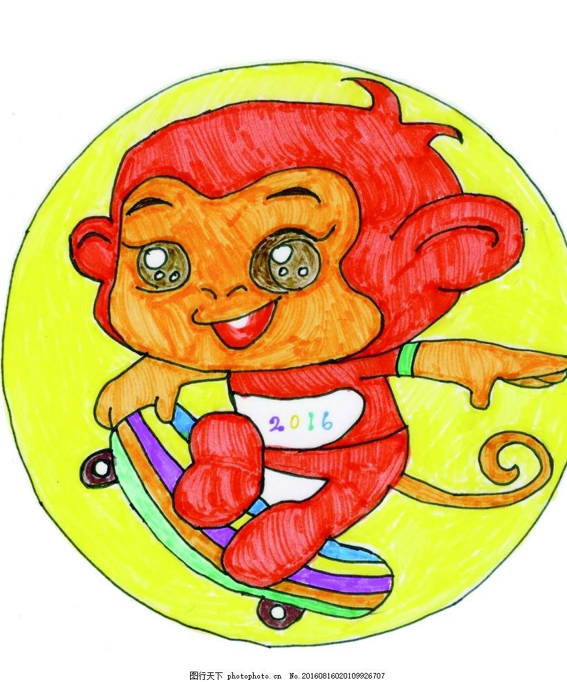 山西现代双语学校 手绘图 小猴子 手绘卡通猴子 其他图标