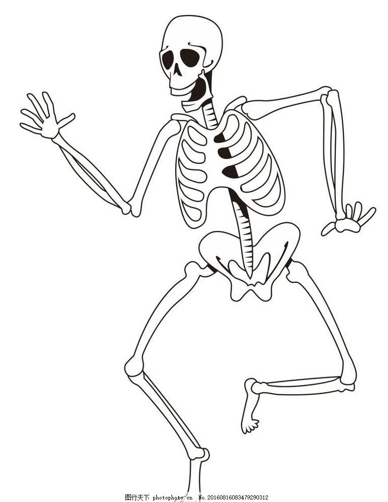 骨架 人体 艺术插画 装饰画 简笔画 线条 线描 简画 黑白画