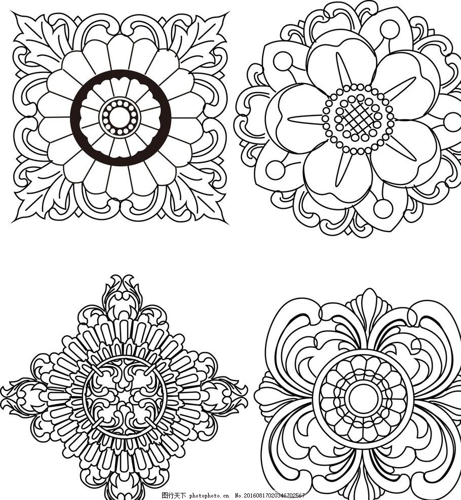 木雕花纹 纹路 平面 花纹设计 黑色 底纹 装饰 线条的倾诉图片