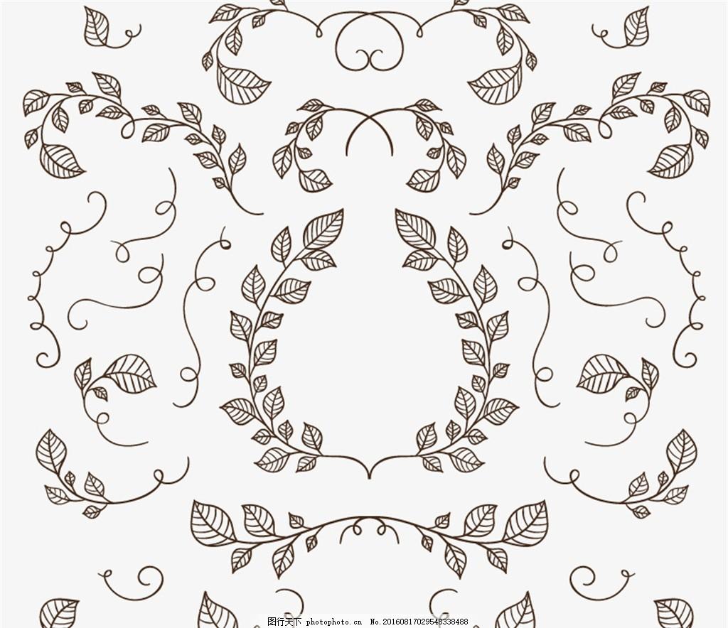 手绘树枝与树叶矢量素材 树枝 树叶 叶子 手绘 枝蔓 矢量图 设计 广告