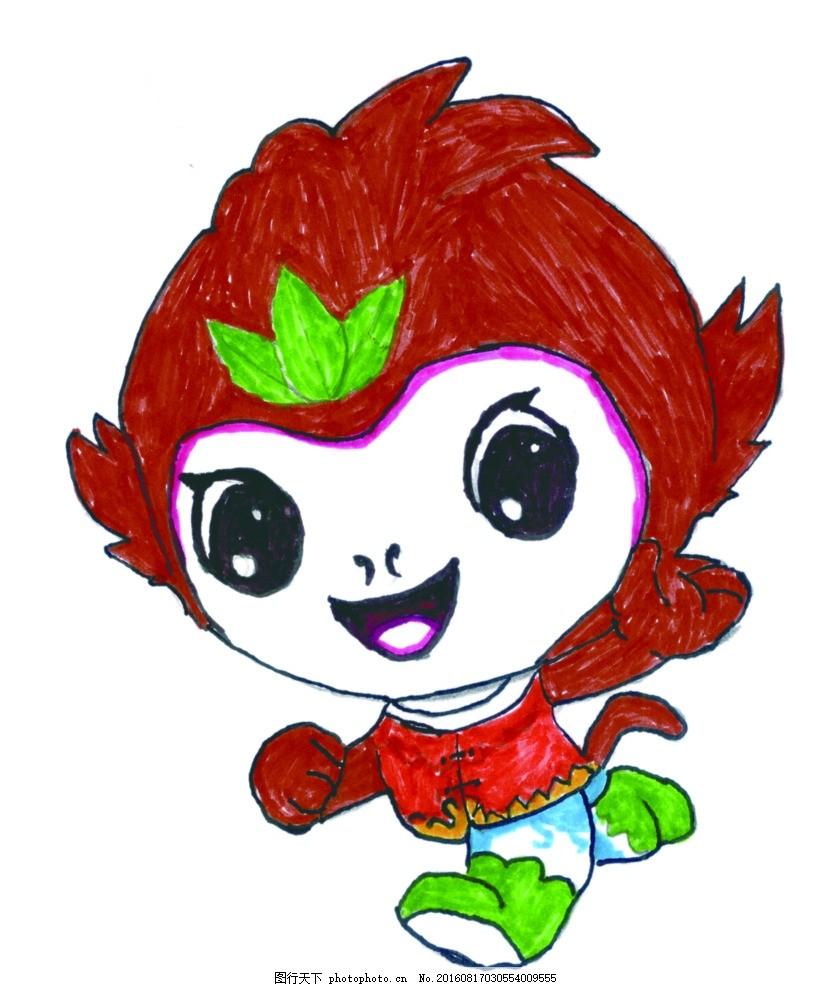 山西现代双语学校 手绘图 手绘校徽 卡通小猴子