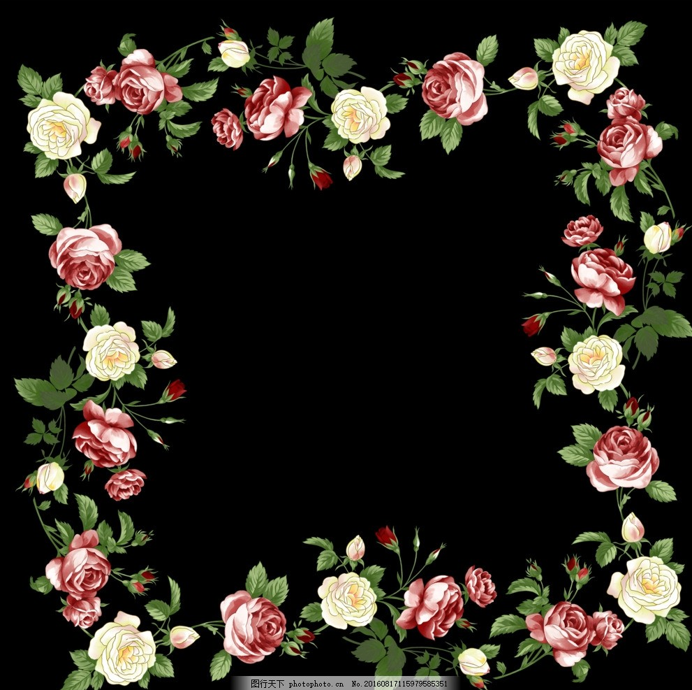 花环 时尚 潮流 唯美 清新 手绘花卉 花藤花边 鲜花花藤 鲜花边框 花