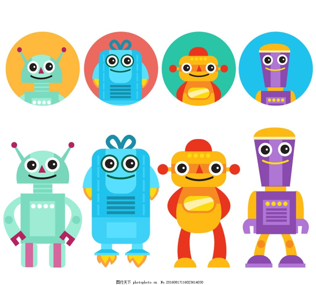 卡通机器人与头像矢量素材 圆形 科技 矢量图 广告设计