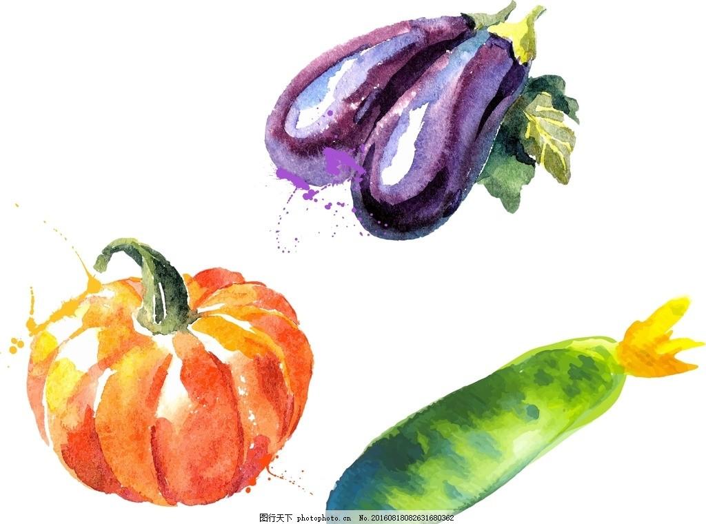 南瓜 茄子 黄瓜 矢量素材 抽象 卡通蔬菜 手绘蔬菜 新鲜蔬菜素材