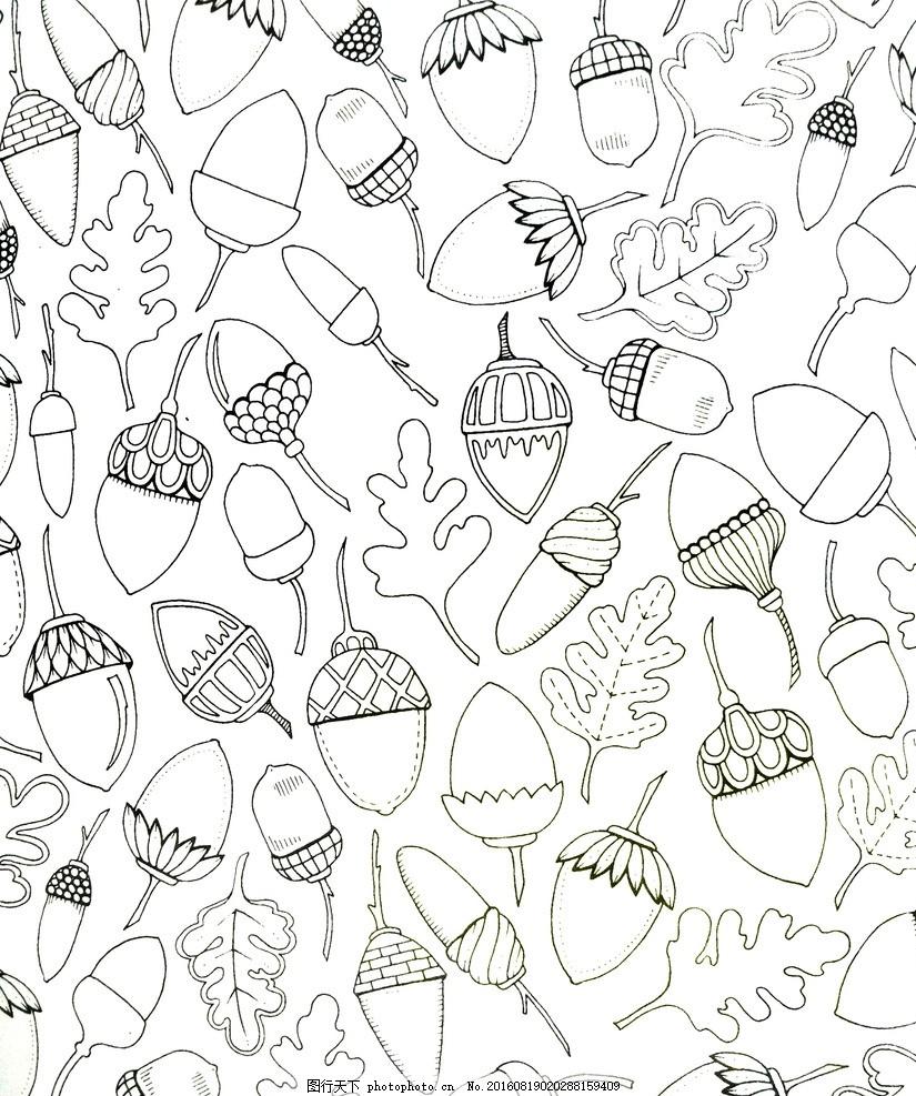 干果底纹 背景 魔法森林 手绘 花边花纹