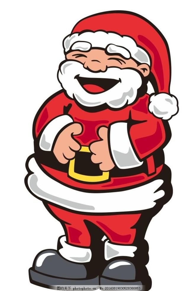 q版圣诞老人 圣诞节素材 圣诞之夜 艺术插画 装饰画 简笔画 线条