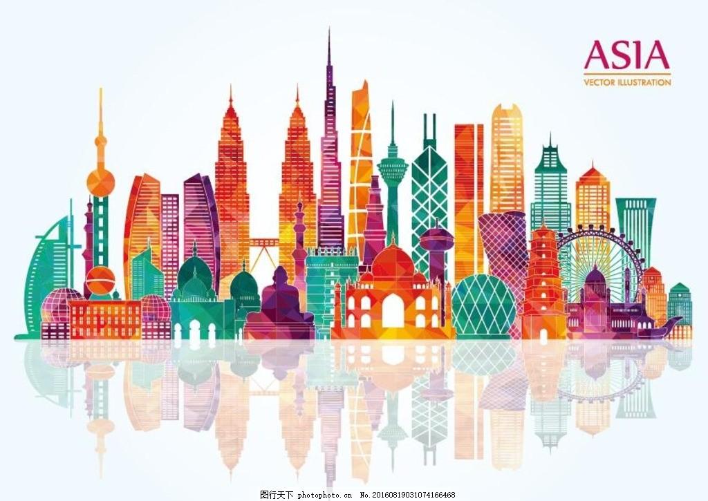 亚洲著名建筑 亚洲知名建筑 手绘 矢量图 国外建筑 扁平化 彩色建筑