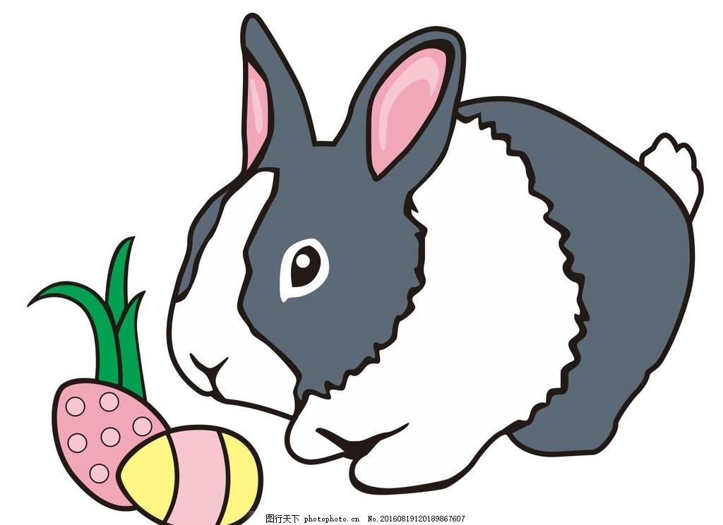 小兔子 黑白相间 兔子 圣诞节素材 圣诞之夜 圣诞节 艺术插画 插画