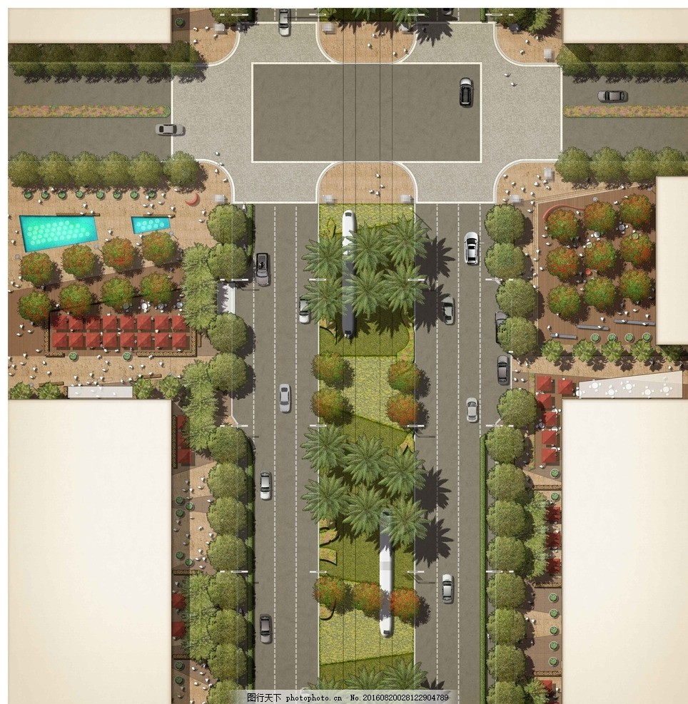 道路规划平面图 十字路口 车行道 步行道 规划设计 规划平面素材
