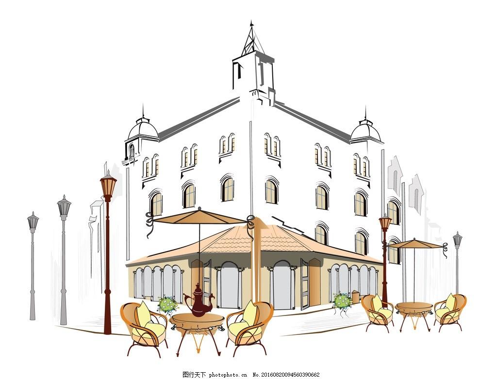 楼房 欧式楼房 老建筑 矢量图 生活百科 西餐厅 小镇生活 小镇街道 设