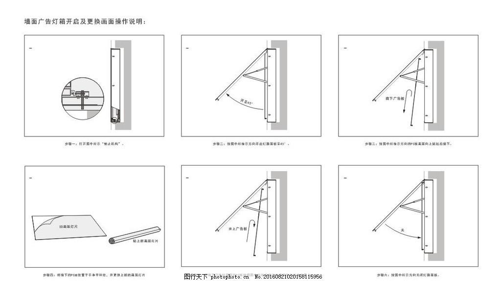 墙面广告灯箱开启及更换画面操作 广告位 灯箱广告 结构图 说明