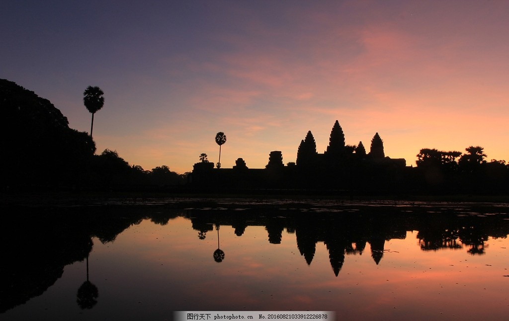 晨光吴哥窟 柬埔寨 历史 日出 剪影 倒影 摄影 国外旅游