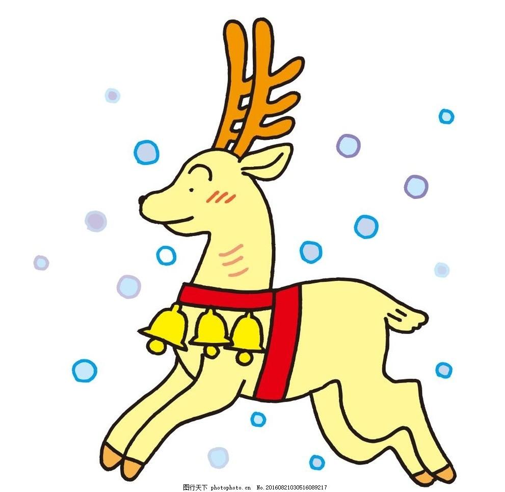 鹿,小鹿 艺术插画 装饰画 简笔画 线条 线描 简画-图