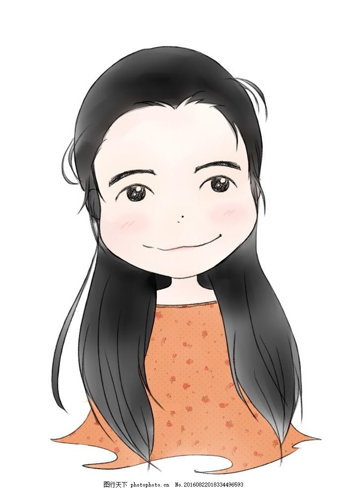 可爱卡通人物q版女生手绘 动漫 印花 图案 动漫动画