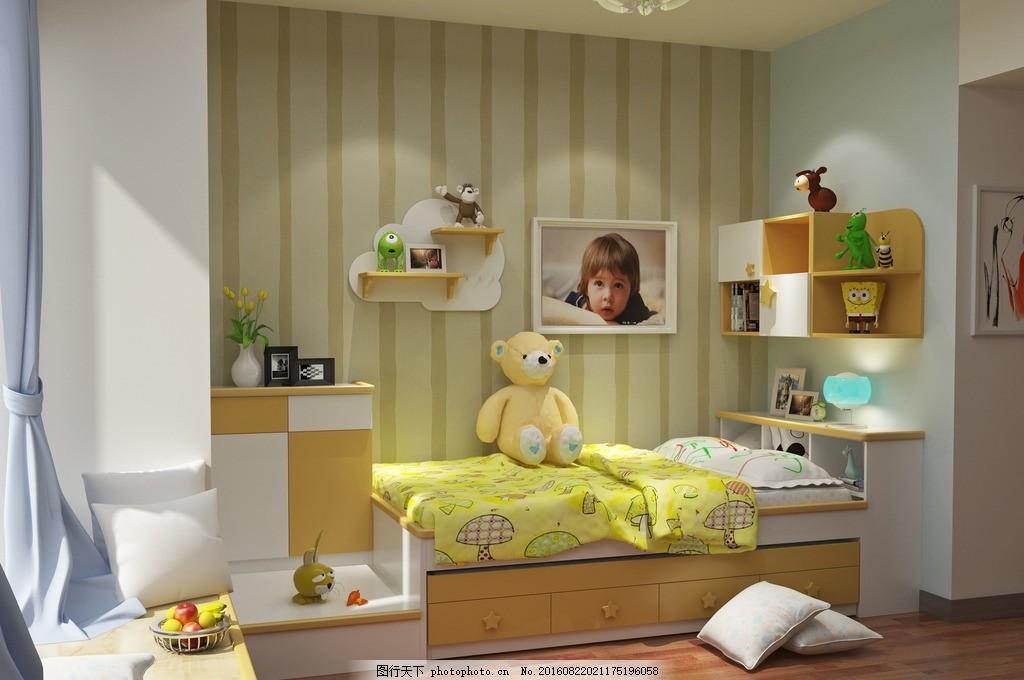 卧室 室内效果图 儿童房 床 吊柜图片