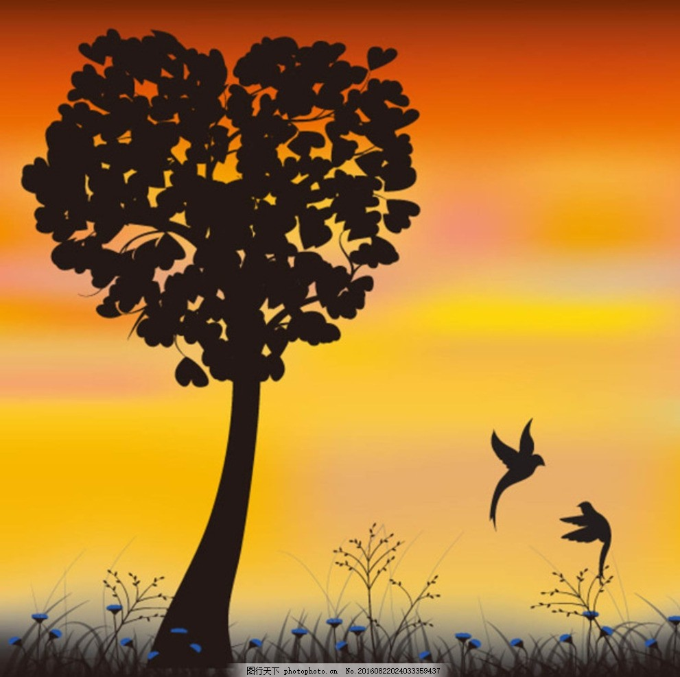 夕阳下的剪影 黄昏 大树 花草 动物 夕阳西下