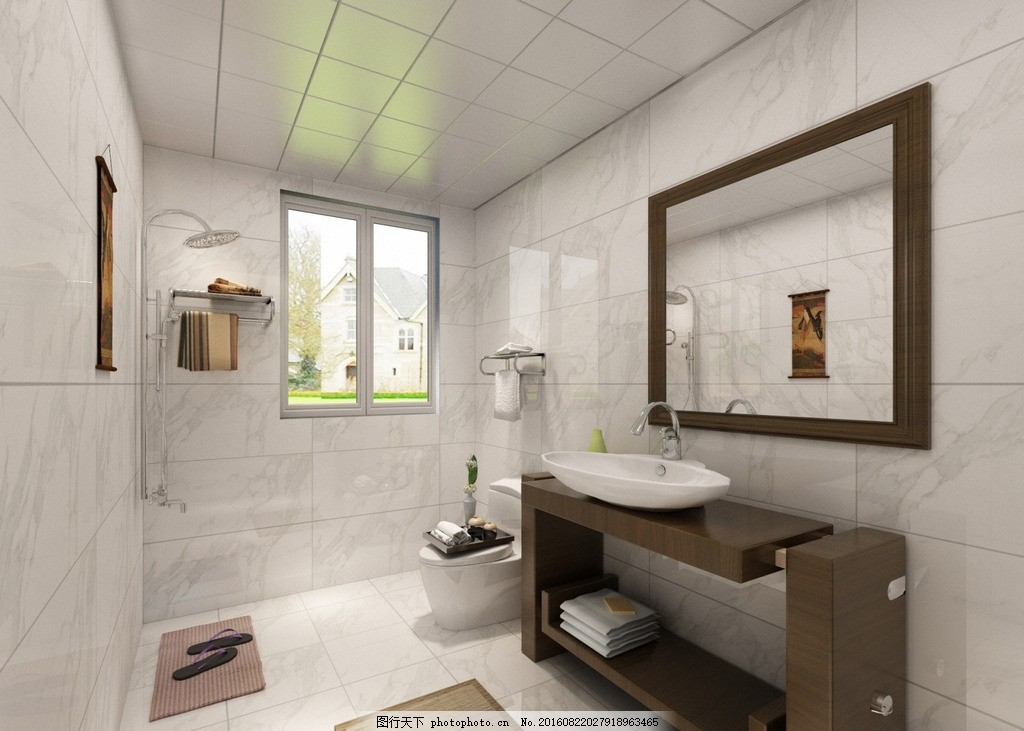 现代风格 卫生间效果图 小清新 室内设计 创意 设计