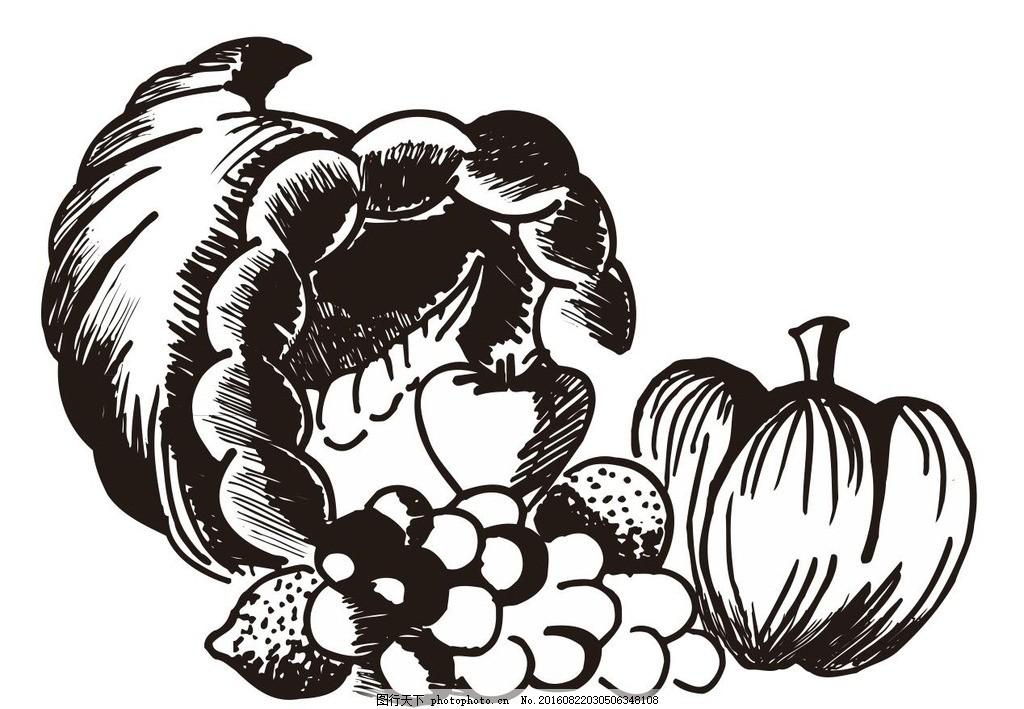 水果静物素描