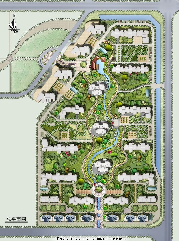 建筑环境效果图 总平面图 彩色总平面图 建筑设计 规划设计 环境设计