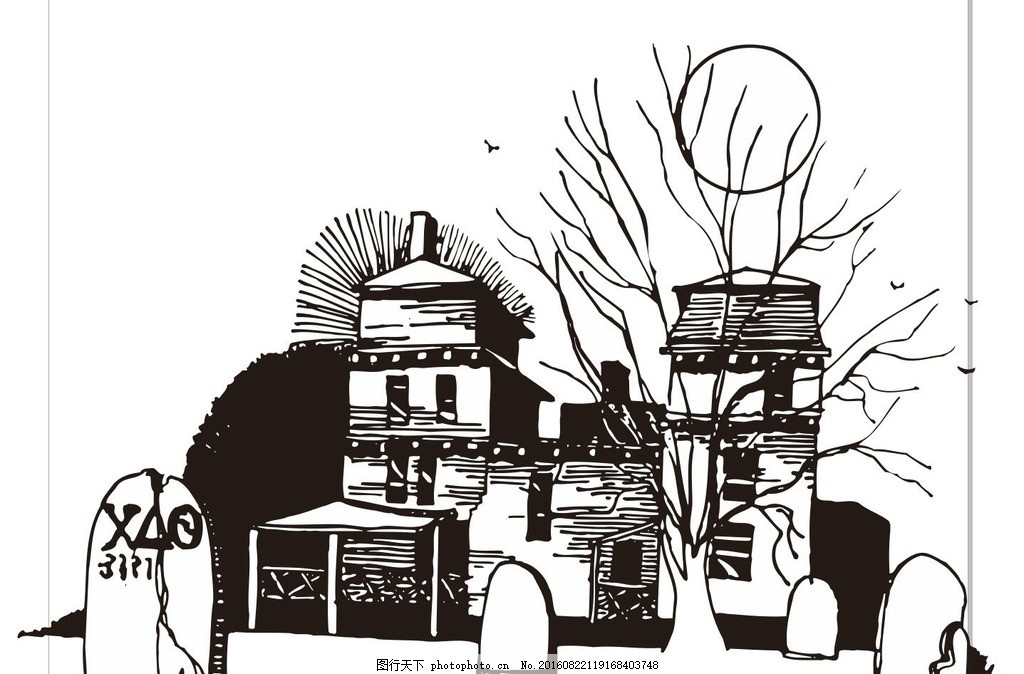 圣诞之夜 圣诞节 艺术插画 插画 装饰画 简笔画 线条 线描 简画 黑白