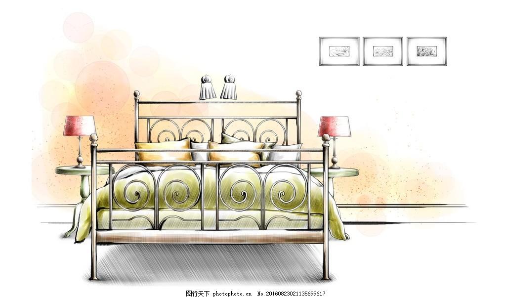 室内床手绘效果图
