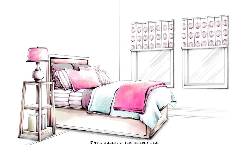 手绘卧室效果图 手绘图             台灯 马克笔 绘画 室内设计 设计