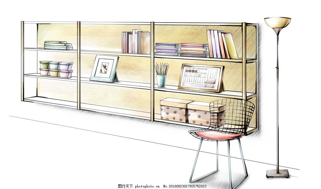 书架手绘效果图 书架手绘图 手绘室内图 床 室内效果图 现代简约