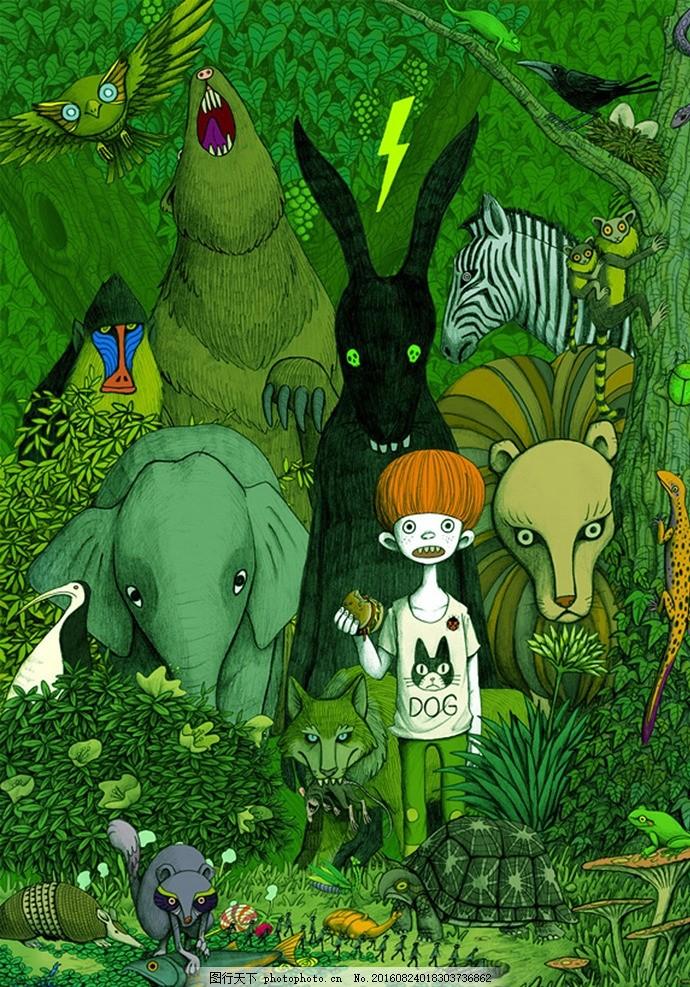 创意卡通动漫插画 动物 树林 大树 儿童 少年 小孩 动漫动画