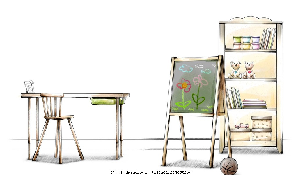 儿童房手绘效果图 儿童房效果图 马克笔 室内效果图 客厅 沙发