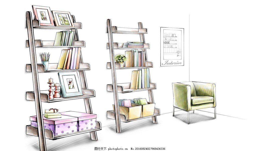 休息区书架 马克笔 休息区书架画 手绘 室内效果图 客厅 沙发