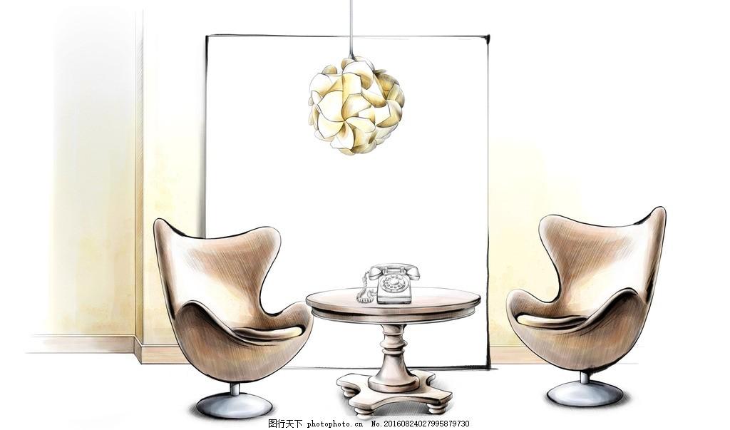 洽谈区手绘图 洽谈区效果图 马克笔 室内效果图 客厅 沙发 室内摄影