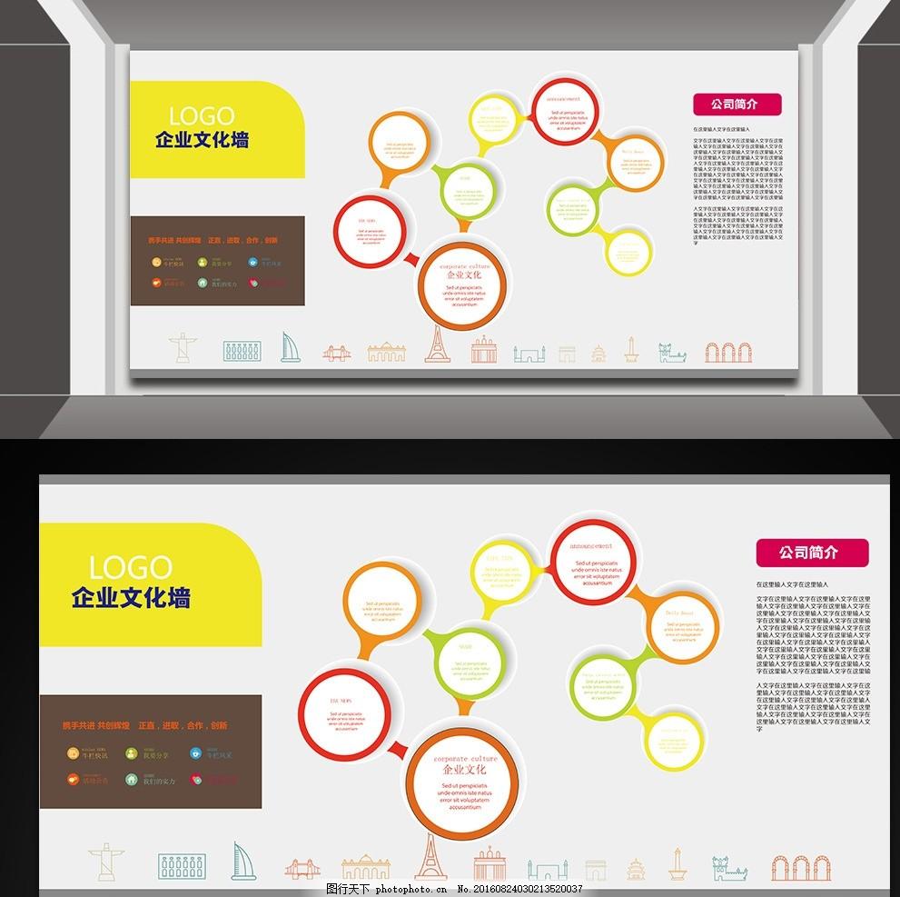 公司文化墙创意设计 展板 模板      文化 愿景 使命 价值观 经营