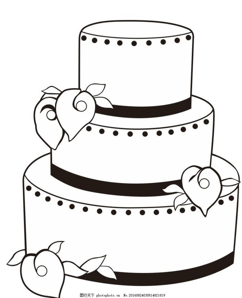 蛋糕 婚礼蛋糕 艺术插画 插画 装饰画 简笔画 线条 线描 简画 黑白画