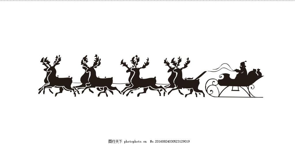 黑白线描动物植物鹿