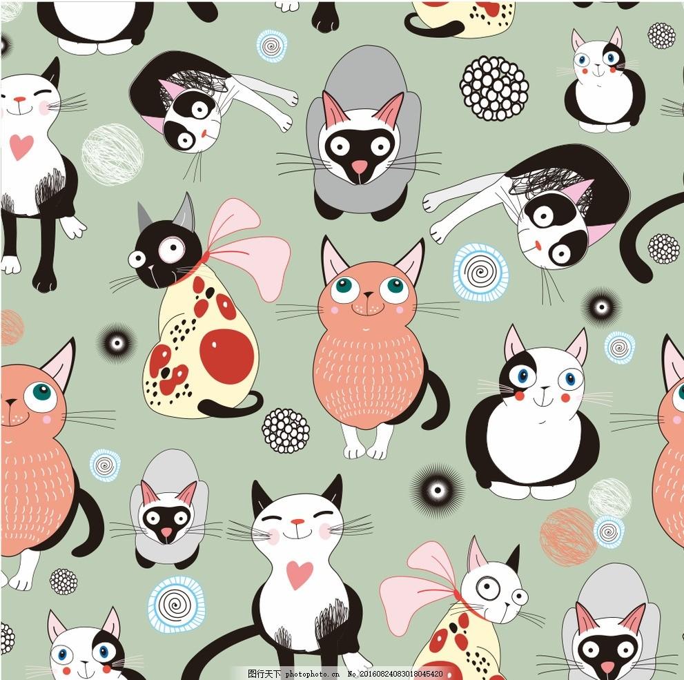 猫猫 卡通猫猫 猫咪 矢量文件 猫猫插画 手绘猫猫 毛线团 广告设计