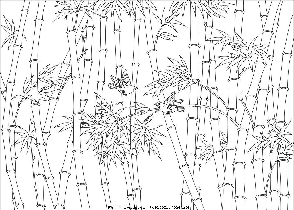 手绘竹林铅笔画