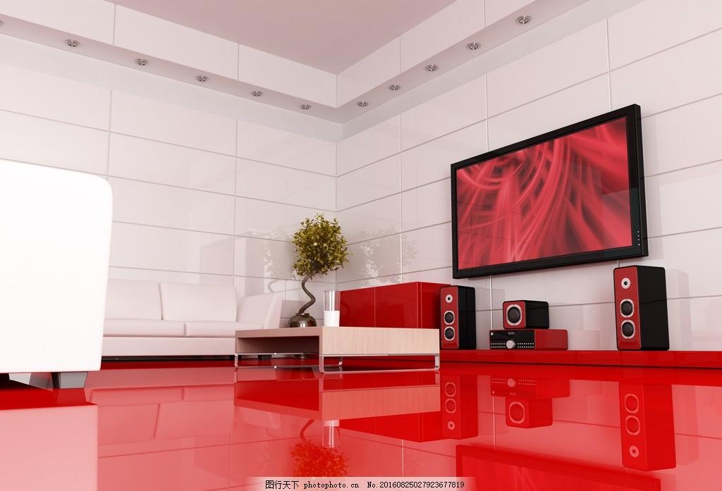 客厅 唯美 家居 家具 欧式 简洁 简约 红色系 白色墙 红地板