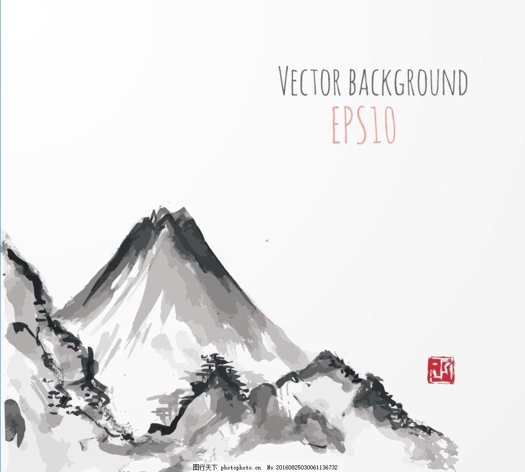 水墨山,无框画 水墨画 两幅无框画 中国风 中国风背景