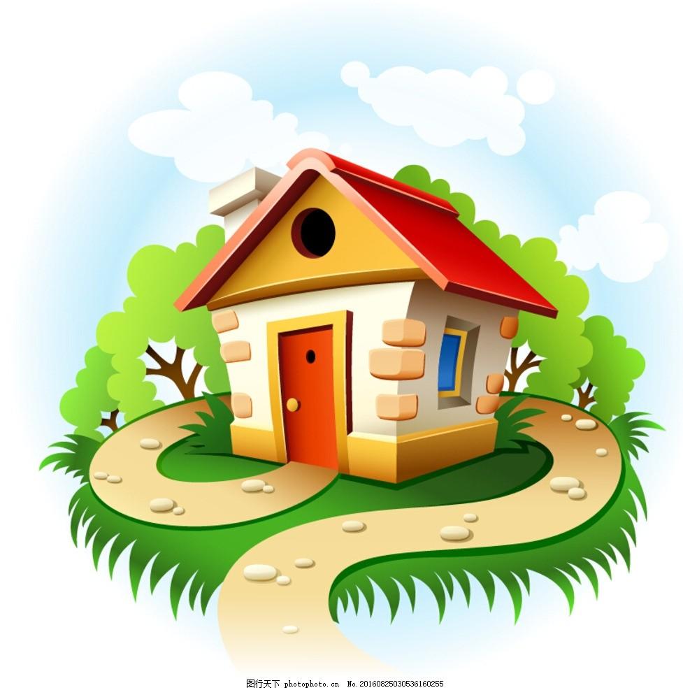 卡通房子 矢量图 木屋 美国乡村 儿童插画 动漫动画 卡通建筑