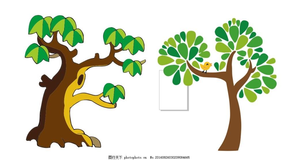 大树 卡通大树 简笔画大树 幼儿园形象 幼儿园墙文化 可爱大树 设计