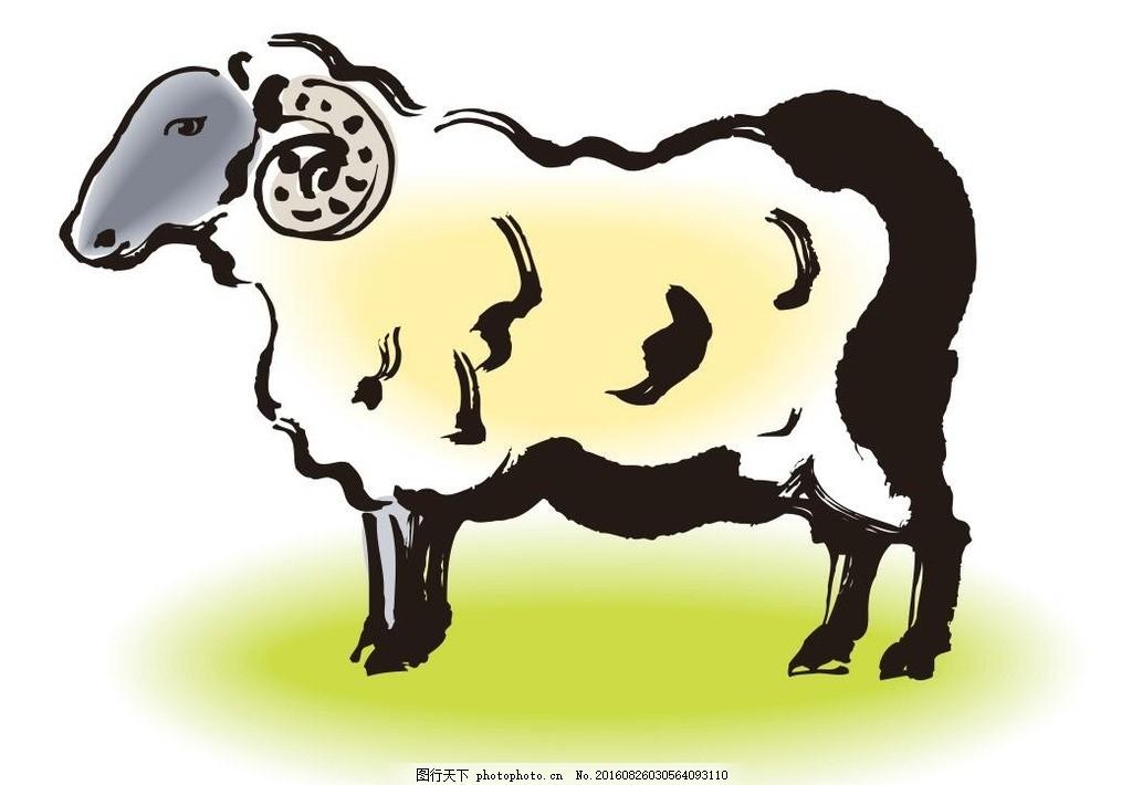 羊,属羊 十二生肖 艺术插画 装饰画 简笔画 线条-图行