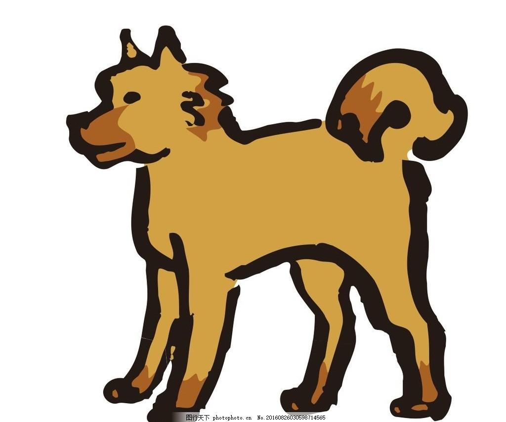 狗 属狗 十二生肖 艺术插画 装饰画 简笔画 线条 线描 简画