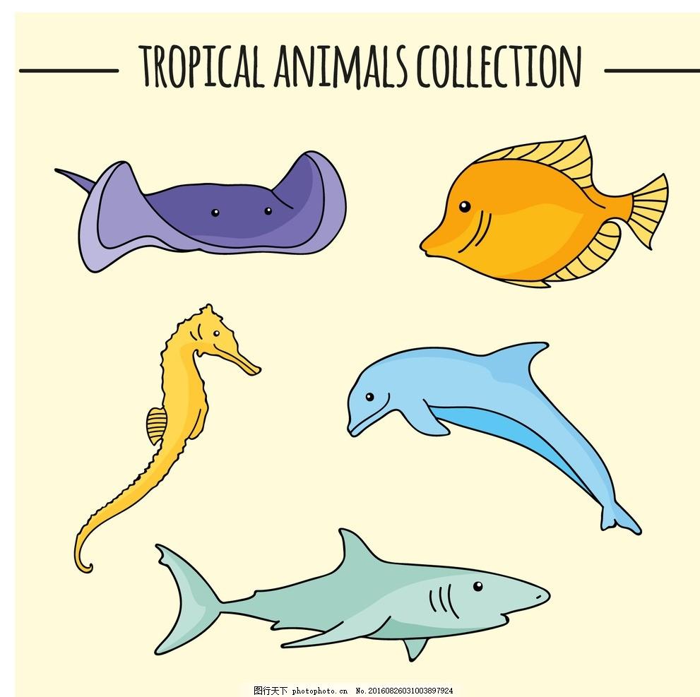 彩色素描鱼 手 鱼 自然 海洋 动物 拉 马 热带 绘画 鲨鱼 海豚 雷