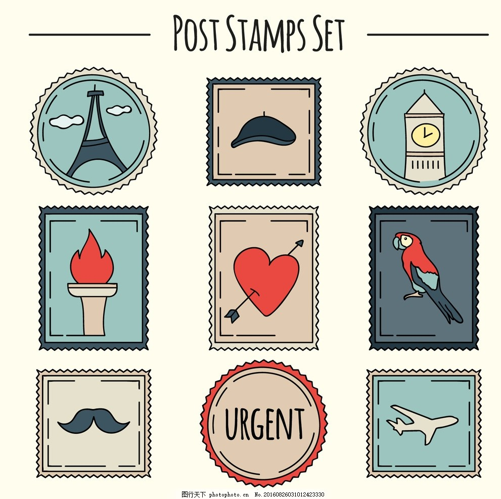 手绘可爱的邮票