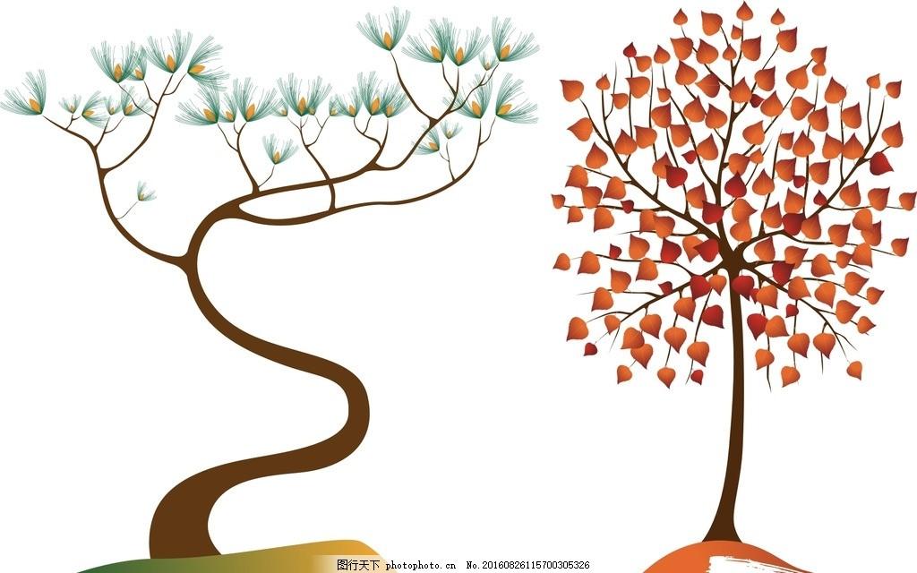 树木 抽象设计 时尚 矢量素材 手绘树木 树木素材 树叶树木 秋季元素